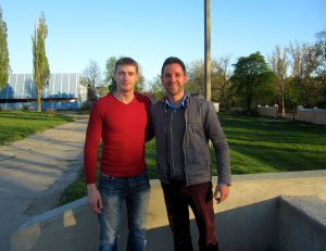 Alex and I at the football stadium in Leova